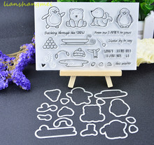 Penguins / sleds Metal Cutting Dies and stamp Stencils for DIY Scrapbooking