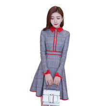 2018 Spring New Pattern Korean womens dress Thickening Rendering Fashion A Doll Lead Lady Of Quality Lattice A Word Dress Tide(China)