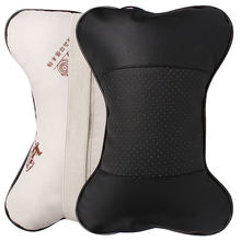 Car Seat Headrest Pillow PU Leather Hole-digging Auto Supplies Neck Safety Pillow Head Cushion Car Care Automobile Accessories(China)