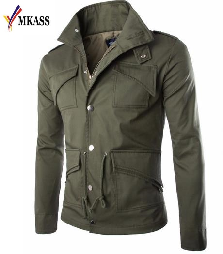 MKASS 2017 High-quality Cotton Military Jacket British trade temperament Slim large size stylish Mens Jackets army Size M-4XL
