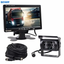 DIYKIT DC 12V-24V 7 inch TFT LCD Car Monitor + 4pin IR Night Vision CCD Rear View Camera for Bus Houseboat Truck(China)