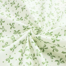 1 meter fresh white cloth with green bow 100% cotton twill fabric DIY handwork doll chic for homework decor patchwork quilting(China)