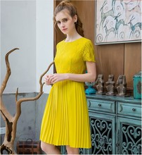 Best selling girls fashion quality design lace dresses women's casual slim elegant nice yellow lace dress lady  XL #L233