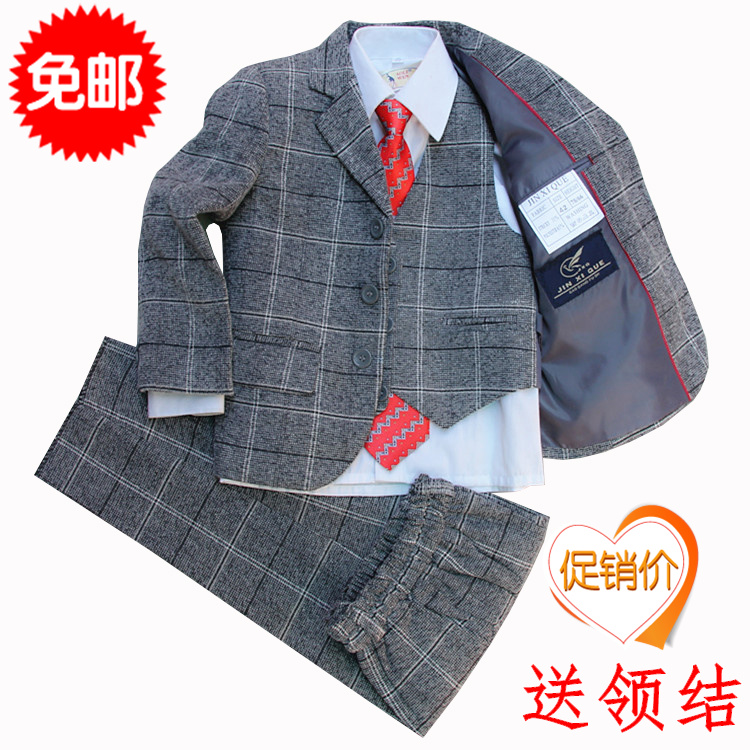 2016 New Boys Blazer For Boys Boy Suits Flower 5piece Suit Include Pant Jacket Shirt Tie Vest Size 95-150cm 2 Colors 2-12 Years<br>