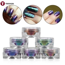 6 Bottles Nail Glitter Shinning Powder+6 Brushes Mirror Flakes Sequins Manicure Nail Art Design DIY Decoration Glitter Power Set