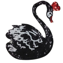 Fashion clothes patch black sequins logo swan applique embroidery flower patches for clothing sticker patchwork free shipping