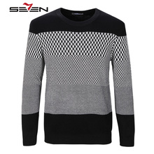 Seven7 2017 New Autumn Fashion Brand Casual Sweater O-Neck Striped Slim Fit Knitting Mens Sweaters And Pullovers Men 111Y60020(China)
