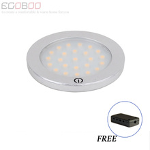 motion sensor light led lampada touch lights lamp Dia 68mm 12v round flat surface under showcase cabinet light 2w (2pcs/lot )