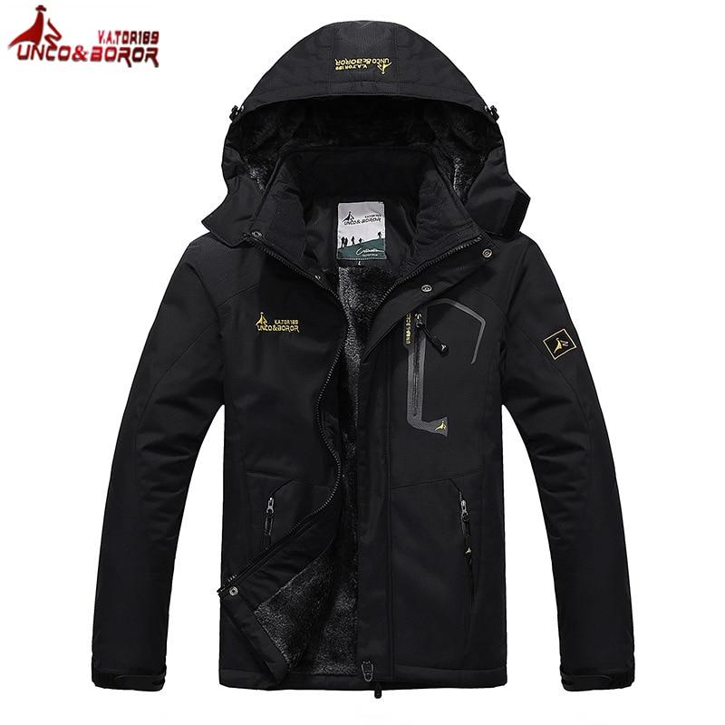 LoClimb 6XL Thick Faux Fur Waterproof Jacket Men Winter Outdoor Sports Rain Coats Mens Thermal Ski Camping Hiking Jackets,AM178<br>
