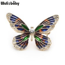 Wuli&Baby Alloy Rhinestone Enamel Butterfly Brooches Women Men's Metal Insects Hat Scarf Broche Gifts(China)