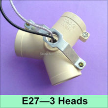 30 Pcs/lot E27 3 Heads Lamp Bases Adapter E27 3 Ports Splitter LED Wall Lamp Ceiling Buld Base Holder 3 E27 Fitting Socket