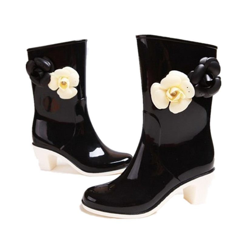 Spring Romantic Camellia Ladies Girls Rubber Rain boots Popular Big Brand Superstar Noble Classic Ankel Womens Shoes With Heel<br><br>Aliexpress