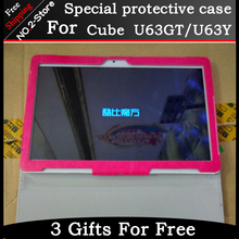 Fashion protective cover case For Cube U63GT 9.6 inch Tablet PC, For Cube U63 Folding support protective sleeve Freeshipping
