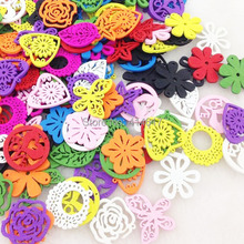 100pcs Flower Leafs Butterfly Wood Buttons Sewing DIY Crafts Lots Mix WB87(China)