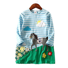 V-TREE Spring Flower Dress For Girls Patch Cotton Dress Striped Fashion Clothing Kids Children Brand Clothes 2-8 Years(China)