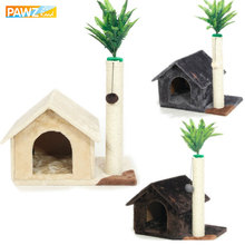 H91cm Pet Cat Soft Wood House Toys Scratching With Ball Lovely Solid Furniture Kitten Climbing Frame 3 Colors Plush Nature Sisal(China)
