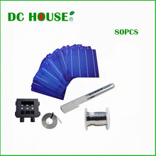 80pcs 6x6 Whole Poly Solar Cells Kit w/Tab,Bus Wire,J-box&Flux Pen for DIY Panel