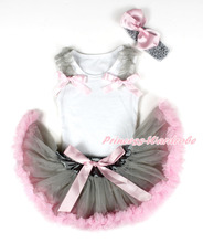 White Baby Pettitop & Grey Ruffles & Light Pink Bow, Grey Light Pink Newborn Pettiskirt, Grey Headband Pink Silk Bow MANG1313
