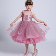 Preorder Girls High Quality Ball Gown Handmade Flower Girls Wedding Costume Girls Boutique Puffy Slip Dress With Sequines