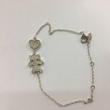 Real Picture 925 Sterling Silver Pink Heart Girl Boy Figure Charm Bracelets with Clear Crystal Fashion Lucky For New Born Baby