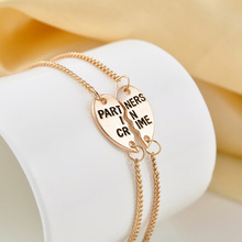 2 pcs/set Partners In Crime BFF Bracelets Friendship Bangles Broken Heart Pendant Necklace Best Friends Forever Gift(China)