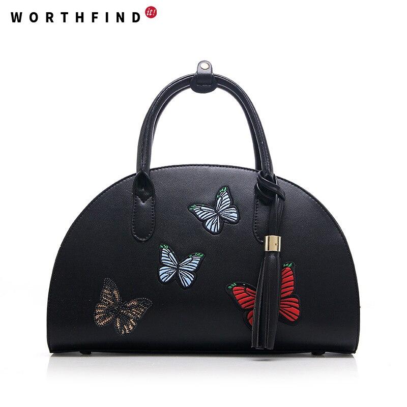 WORTHFIND Women Vintage Leather Handbag Women Bag Fashion Embroidery Messenger Shoulder Bag Women Tote Lady Crossbody Bag<br>