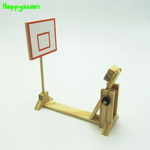 Happyxuan DIY Wooden Mini Basketball Frame Ball Shooting Game Machine Lever Principle Science Experiment Assembly Model Toys(China)