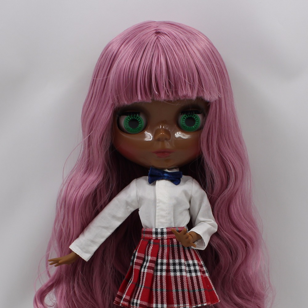 Neo Blythe Doll with Pink Hair, Black skin, Shiny Face & Jointed Body 3