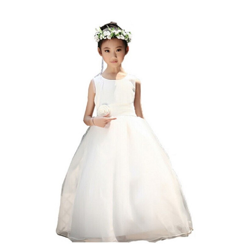Elegant Flower Girl Dress Teenage White Formal Prom Gown For Wedding
