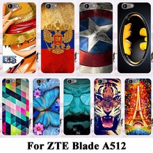 AKABEILA Soft TPU Hard Plastic Cell Phone Cases For ZTE Blade A512 Case 5.2 inch Covers Cat Tiger Batman Shell Hood Bags Cover(China)