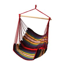 Garden Patio Porch Hanging Cotton Rope Swing Chair Seat Hammock Swinging Wood Outdoor Indoor Swing Seat Chair(China)