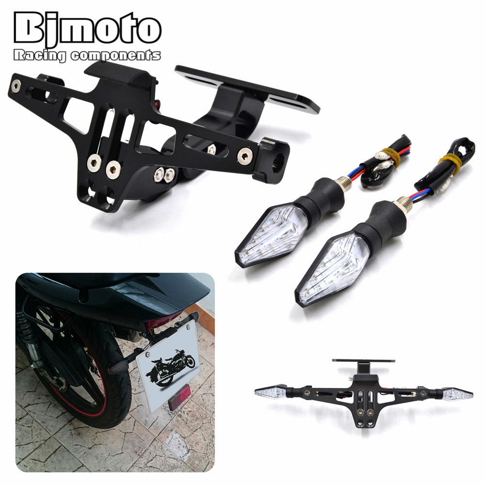 Motorbike Conversion Scooter Moped License Plate Frame Licence Holder Motorcycle Number Plate Holder with LED Turn Signal Light<br>