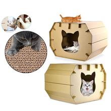 Cat Scratch Board Cottage House Sleeping Bed Mat Home Pet Toy Playing Pets Cats Hamster Mice Squirrel Scratching Home Cage House