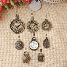 Newest Vintage Copper Alloy Bronze plated Cartoon Alarm clock shape metal jewelry charms diy phone/key chain pendants