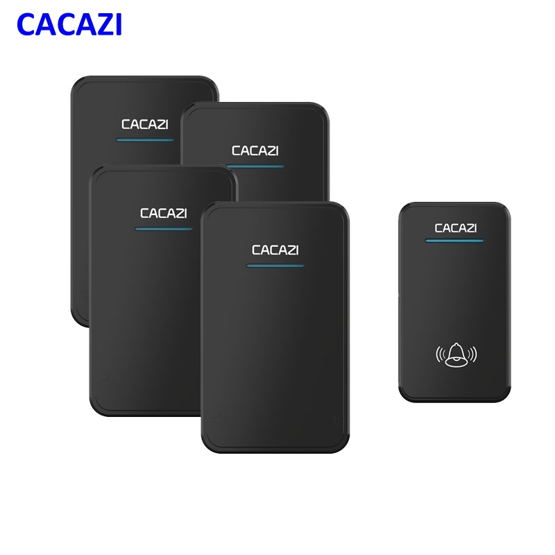 CACAZI wireless doorbell 1 waterproof button+4 receivers AC 100-220V EU US UK plug door ring 48 ringtones 6 volume door chime<br>