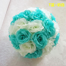 Tiffany Blue Silk Rose Flower Balls 25cm Diameter Kissing Balls Designs for Wedding Party Shops Artificial Decorative Flowers(China)