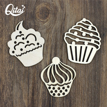 QITAI 36 Pcs/lot Three Different Size Cupcake Style Wood Craft Great Gift For Birthday Home Decor Creative Thick Plywood WF115