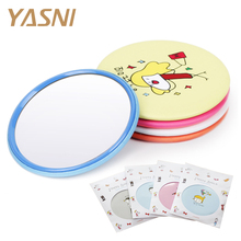 Colorful Pocket Makeup Mirrors Sweet Cartoon Cosmetic Mini Mirror Girl's Gift Beauty Round Mirrors Hand Cosmetic Compact FS72(China)