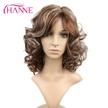 "HANNE Brown Mixed Blonde Boucy Curly Hairstyle 16"" Short Wigs Heat Resistant Synthetic Wig For Black Woman Daywear Or Cosplay"