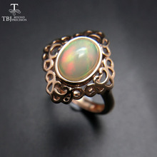 TBJ, 100% Natural Ethiopian Rainbow Opal oval 7*9mm Rings Engagement Ring in 925 sterling silver gemstone Jewelry Women Wedding