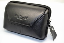 Free Shipping Universal Horizontal Genuine leather belt Pouch bag Case Holster for Blackberry 9720 Q5 Q10- black and brown(China)