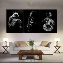 3-4-5 Pieces Black Cool Men Classical Musical instruments Large Canvas Art Wall Pictures Canvas Prints Artwork Wall Pictures(China)