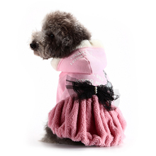 Korea Pet Dog Cotton Autumn Winter Clothes Cute Girl Dress  For Puppy Medium Dogs Mascotas Roupas Para Cachorro Pet Shop 404