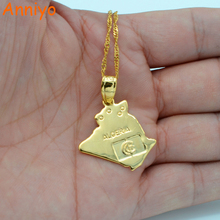 Anniyo Algeria Map Pendant Necklace Chains Gold Color Jewelry Algerians Women Girl,African Items,Bulk Order Can Discount