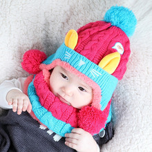 2 pcs/set Baby Boys Girls Winter Warm Hat Scarf Set Kitty pattern Knitted wool Hats For 6-24 months ear protection winter Cap(China)