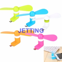 JETTING 100% tested Mini 2 in 1 Portable Micro USB Fan For iPhone 5 6 hand Fans for Android OTG Smartphones USB Gadget