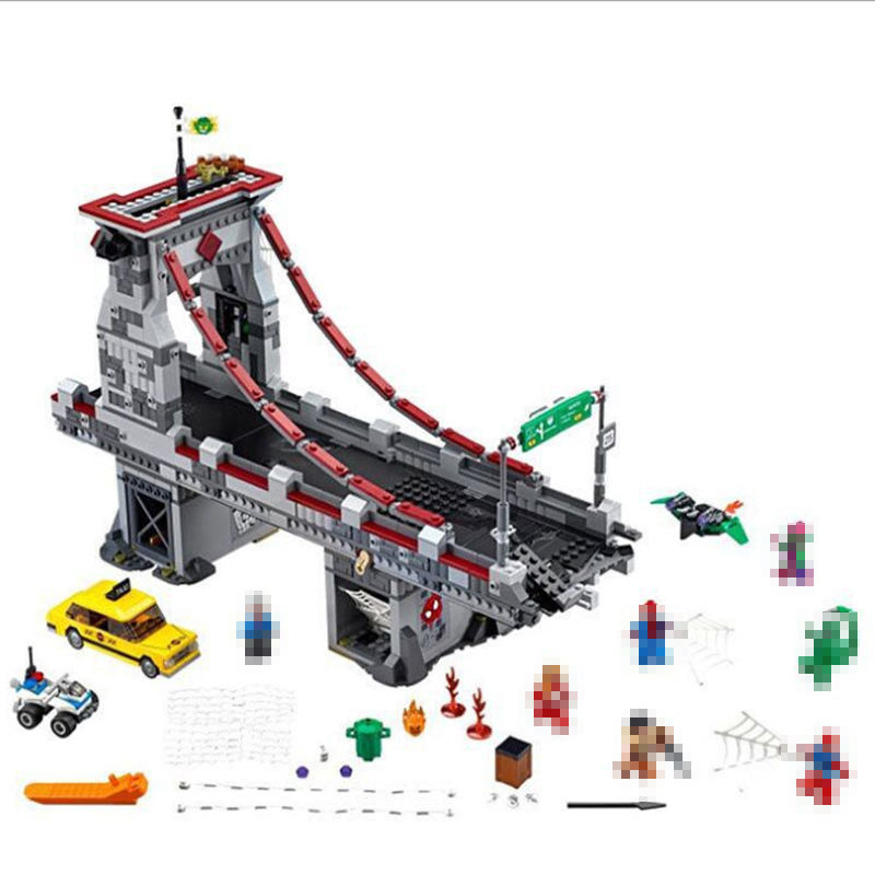 LEPIN 07038 1165Pcs Super Hero Spiderman Web Warriors Ultimate Bridge Battle Building Block Compatible 76057 toys for boys gifts<br>