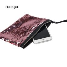 FUNIQUE Colorful Black Fashion Makeup Storage Bags Shining Double Sequined Clutch Evening Bag Catch Packets Change Packets