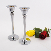 For wedding decoration home decor metal candle holder stand set 2pcs with top grade Czech crystals free shipping OH13011