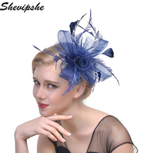 Women Fancy Feather Fascinator Hats Black Birdcage Veil Wedding Hats Hair Accessories Headband Hat Lady Bride Party Hairband